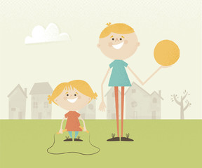 Illustration of two children in a park with a ball and skipping rope