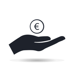 Money in hand Euro currency vector illustration.