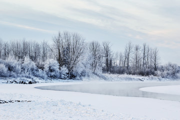 Frost and fresh snow cover the landscape and trees and the river is completely frozen with steam rising in the morning sun; Fort McMurray, Alberta, Canada