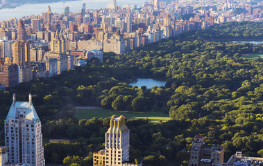 View over Central Park and Manhattan; New York City, New York, United States of America