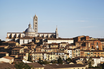 Residential buildings, Santa Maria church and Mangia tower, Siena, Italy