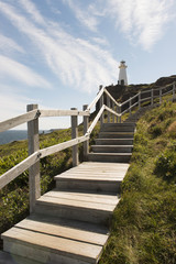 Wooden steps leading up to Cape Spear lighthouse; St. John's, Newfoundland and Labrador, Canada