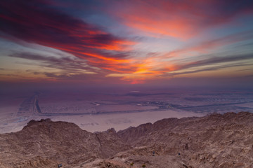 The View From The Mercure Hotel At The Top Of Jebel Hafeet Mountain; Al Ain, Abu Dhabi, United Arab Emirates