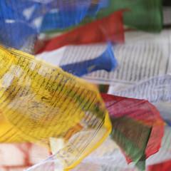 Colourful prayer flags; Thimpu, Bhutan