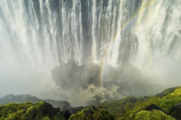 Victoria Falls with rainbow; Livingstone, Zambia