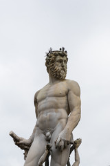 Famous Fountain of Neptune on Piazza della Signoria in Florence, Italy