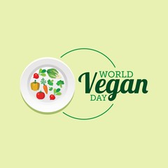 World vegan day vector illustration. Suitable for greeting card, poster and banner.