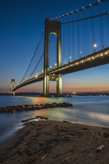 Verrazano-Narrows Bridge at twilight; Brooklyn, New York, United States of America