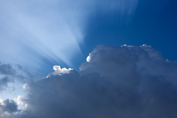 Rays of sun behind the clouds in a blue sky