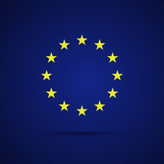 Circular stars of the European Union on blue background, vector illustration