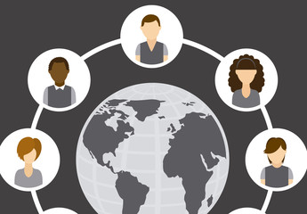 8 Young People Icons in a Circle with Globe