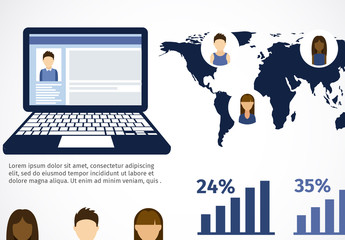 International Social Media Data Infographic with Young People Icons and Laptop Element 1