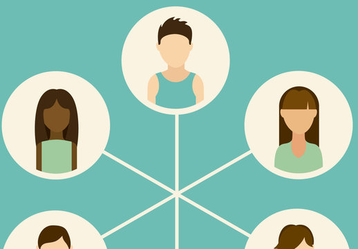 6 Young People Icons Inset in Connected Circles