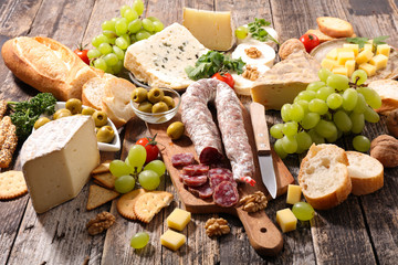 composition with salami,cheese and bread