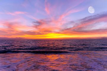 Sunset Ocean Moon