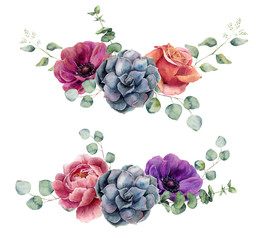 Watercolor floral elements isolated on white background. Vintage style posy set with eucalyptus branches, rose, succulents, peony, anemone flower, leaves. Flower hand painted design