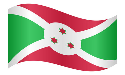 Flag of Burundi waving on white background