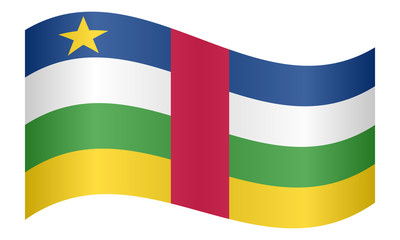 Central African Republic flag wavy, white backdrop
