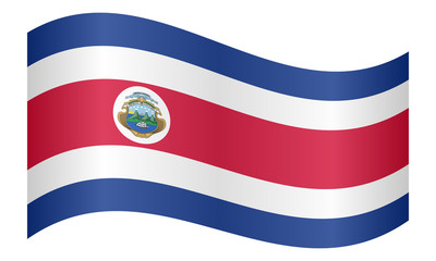 Flag of Costa Rica waving on white background
