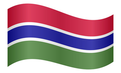 Flag of the Gambia waving on white background