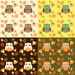 vector texture owls with autumn leaves