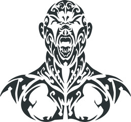 tribal - black scream man with white background