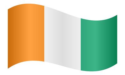 Flag of Ivory Coast waving on white background