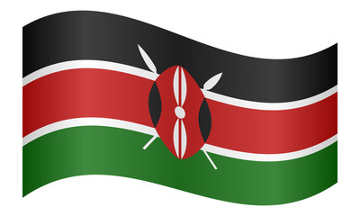 Flag of Kenya waving on white background