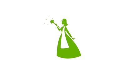Madam Cleaning Broom Logo Icon