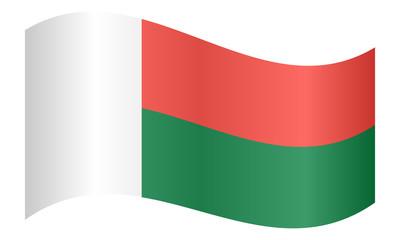Flag of Madagascar waving on white background