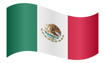 Flag of Mexico waving on white background