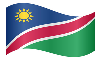 Flag of Namibia waving on white background