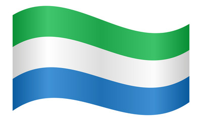 Flag of Sierra Leone waving on white background