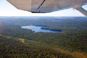 Wall Mural - Adirondack forests, lakes, creeks and mountains aerial terrain v