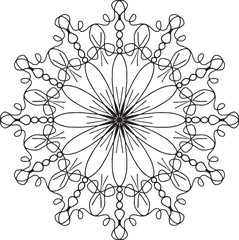 Abstract Flower Circle Design Element  Line Drawing