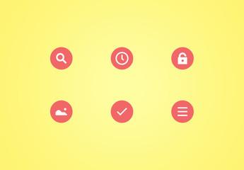 Conjunto de iconos de material circular