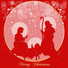 Nativity on Red Background
