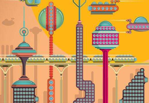 Conjunto de ciudades futuristas