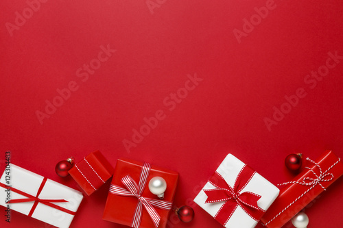 Christmas gifts presents on red background simple classic red and christmas gifts presents on red background simple classic red and white wrapped gift boxes negle Images