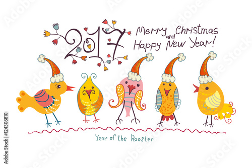 Five funny chicken in Christmas cap. Merry Christmas and Happy New ...