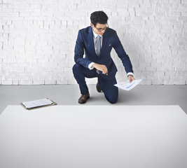 Businessman Draft Business Plan Layout Concept