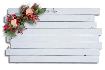 Rustic elegant Christmas decoration on white wood