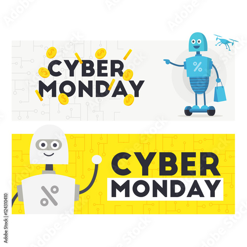 Two Web Banner Cyber Monday Label Emblem Cute Robot