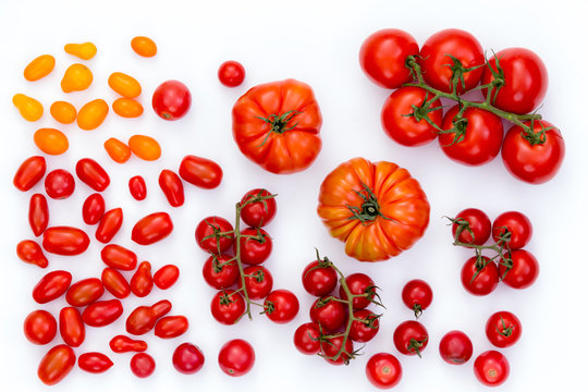Assorted raw tomatoes on white background