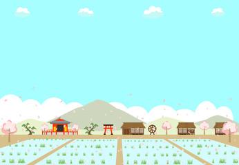 農村の水田と桜