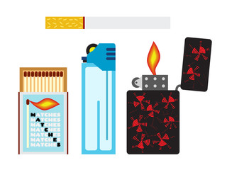 Vector illustration of matches, cigarette and two lighters. Flat style.