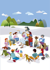 Jesus Talking to Children Vertical
