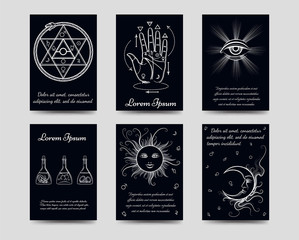 Alchemy and isoteric cards set. Black and white isoteric cards vector illustration