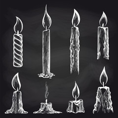 Hand drawn candles collection on chalkboard vector illustration