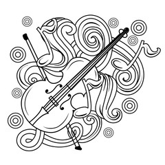 Cartoon hand-drawn doodles Musical illustration. sketch